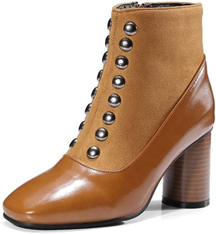 Women's Ankle Boots Block Heels Round Toe Slip-on Side Zipper Rivet Booties