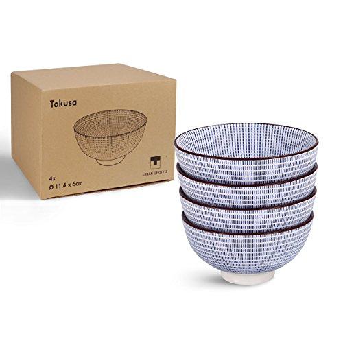 Urban Lifestyle 4 x Teeschale mit japanischem Tokusa Muster