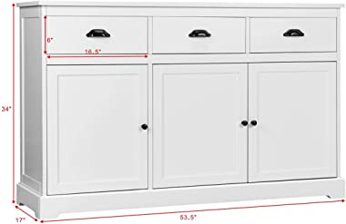 Giantex Sideboard Buffet Server Storage Cabinet Console Table Home Kitchen Dining Room Furniture Entryway Cupboard with 2 Cab