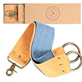 Leather Strop Knife Strop + Razor Strop - Keep your Blades Sharp. Riveted Brass Anchor Hooks. Blue Linen Stropping Belt For Cleaning. Great Knife Sharpening Strop, Shaving Strop, Straight Razor Strop