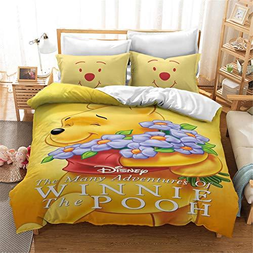 SMNVCKJ Winnie The Pooh - Biancheria da letto per bambini, in microfibra con stampa digitale 3D, con copripiumino e chiusura lampo (2, singolo 140 x 210 cm)
