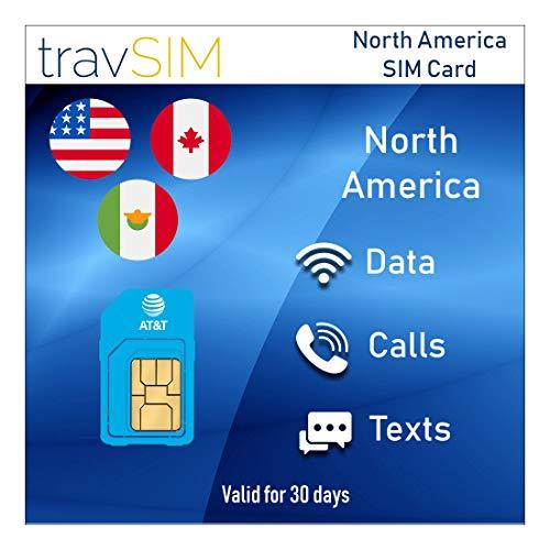 travSIM - Tarjeta SIM prepaga Norteamérica (Estados Unidos, Canadá y México) AT&T - Datos móviles ILIMITADOS* 4G / LTE, Llamadas de Voz Locales y Mensajes de Texto válidos por 30 días