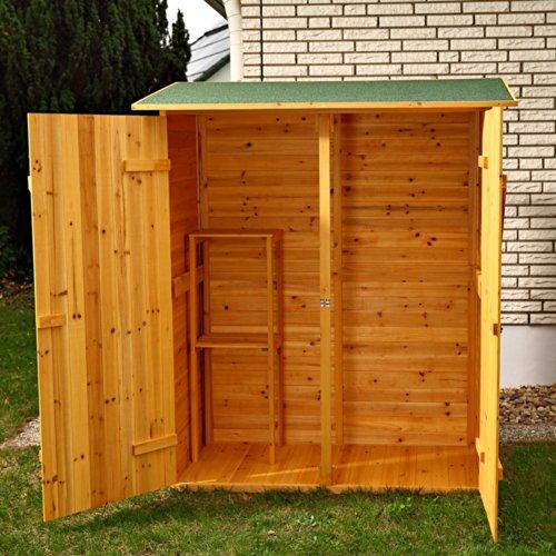 Melko Gerätehaus XXL Geräteschrank Geräteschuppen Gartenschrank, aus Holz, braun, 162 x 140 x 75 cm - 6
