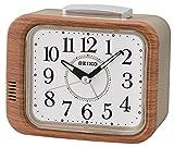 Seiko QHK046B Bell Alarm Clock with Sweep Second Hand-Wood Finish, 12 x 13 x 8 cm