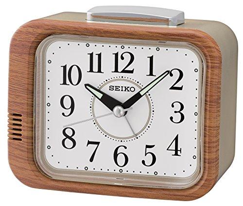 Seiko QHK046B Bell Alarm Clock with Sweep Second Hand-Wood Finish, 12 x 13...