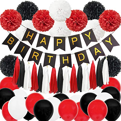 InBy 49pcs Mickey Minnie Mouse Black Red White Happy Birthday Baby Shower Party Decoration Supplies Kit - 'Happy Birthday' Banner, Tissue Paper Pom Pom, Tassel Garland, Latex Balloon (Red)