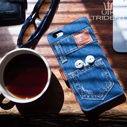 「UKTrident」本格デニムiPhone7PLUS/iPhone8PLUS兼用手帳型アイフォンケース