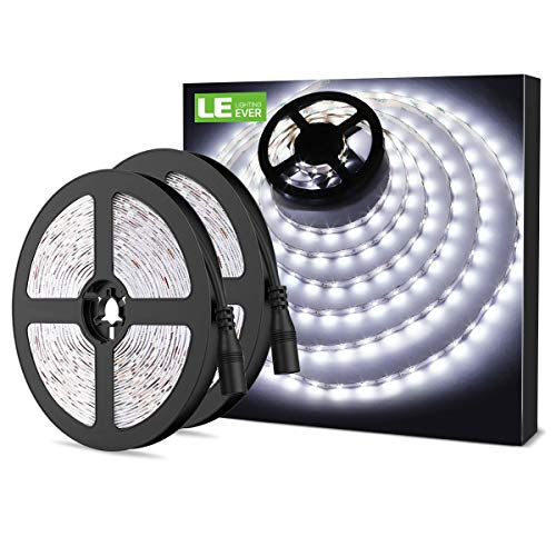 LE 12V LED Strip Light, Flexible, SMD 2835, 300 LEDs, 16.4ft Tape Light for Home, Kitchen, Party, Christmas and More, Non-Waterproof, Daylight White, Pack of 2