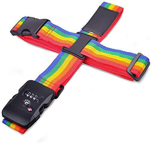 EKISHOP(エキショップ) スーツケースベルト TSAロック搭載 十字型 純色 ラゲッジベルト ワンタッチ式 長さ調整可 ネームタグ付き 盗難防止 出張 海外旅行の必須アイテム 7色 (虹色)