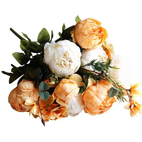 NAttnJf Flor Artificial decoración para Fiestas Realista 1 Rama 13 Cabezas de Flores de Seda de peonía Artificial Fiesta de Bodas decoración de la Oficina en casa Naranja Blanco