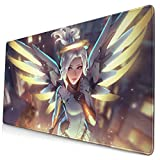 Large Gaming Mouse Pad Girl Mercy,Non-Slip Rubber Base & Stitched Anti-Fray Edges Mousepad,Waterproof Laptop Desk Mat,Computer Keyboard and Mouse Combo Pads Mouse Mat 23.6x11.8x0.12 inch