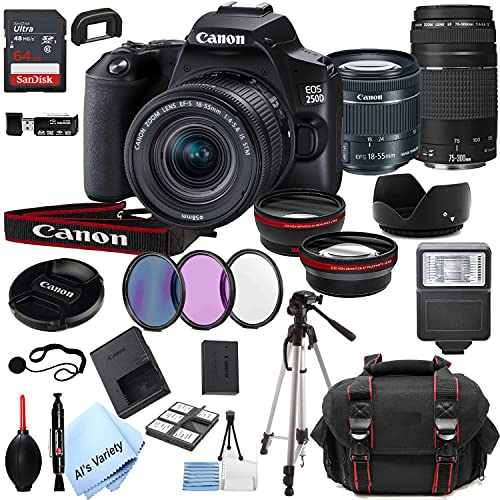 Canon EOS 250D (Rebel SL3) DSLR Camera with 18-55mm f/4-5.6 is STM + EF 75-300mm f/4-5.6 III Zoom Lenses + 64GB Card, Tripod, Case, and More (25pc Bundle)