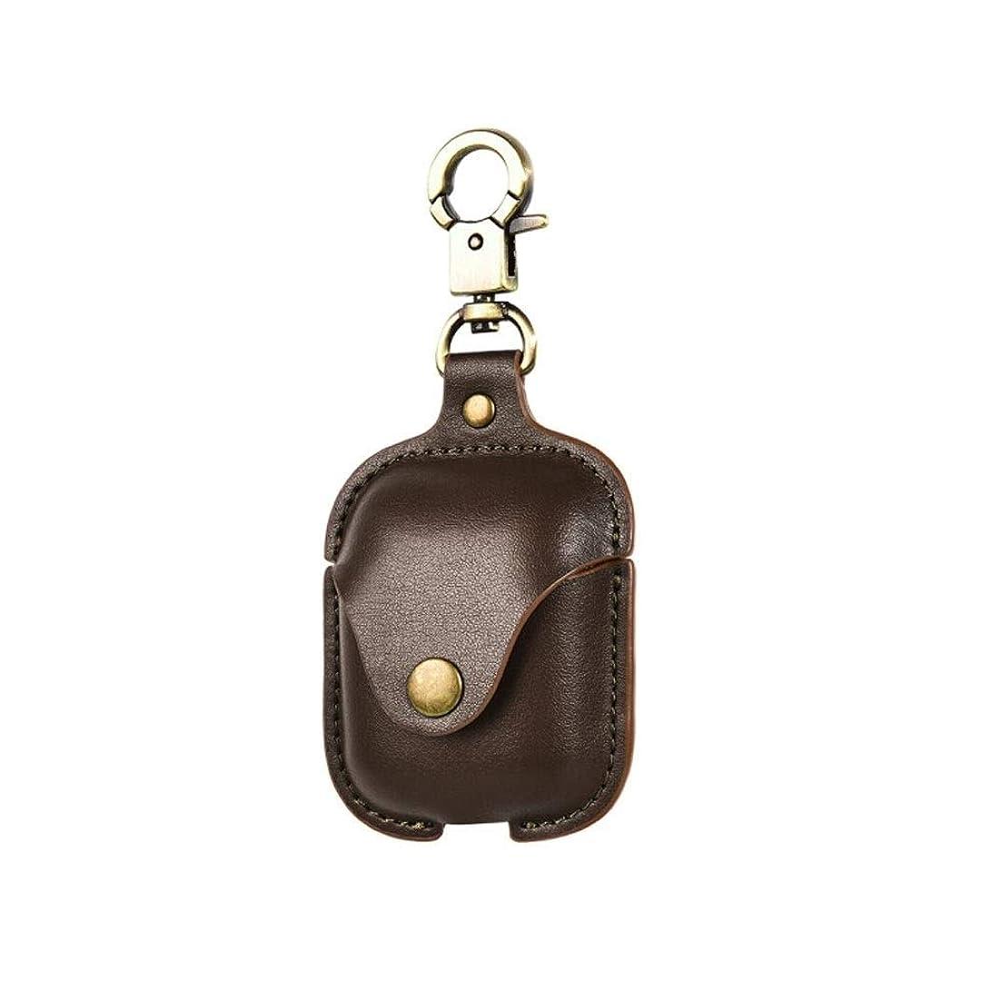 酸度支配する好意的HUICHEN ヘッドフォンカバー、Airpods2ワイヤレスイヤホン、レザー保護カバー、落下防止および紛失防止、ストラップ付き携帯電話Bluetoothヘッドセット収納ボックス、オリジナルレザーケース、スタイリッシュで耐久性 (Color : Brown)