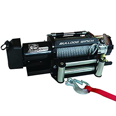 Bulldog Winch 10039 Trailer Winch (12000lb Trailer with 90 Ft. Wire Rope, Roller Fairlead, Mounting Plate, Low Profile), 1 Pack