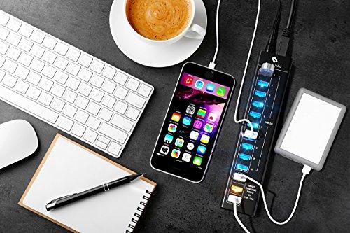 SmartDelux Powered USB Hub - 13-Port USB 3.0 Hub with 10 USB 3.0 Ports, 3 Smart Charging Ports, Power Adapter, Long Cord, LEDs - Black Aluminum