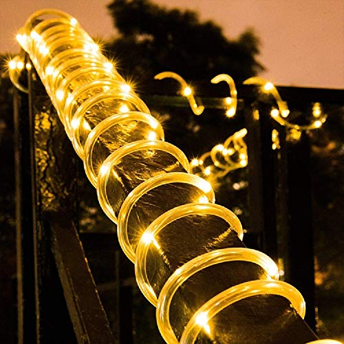 Solar Rope Light 33FT 100L IP65 Waterproof Outdoor LED Copper Fairy String Tube Lights for Party Garden Yard Home Wedding Christmas Holiday Tree Decoration Lighting (Warm White)