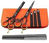 Candure - 5.5 tijeras de peluquería profesional - Deep Negro - tijeras de peluquería - Tornillo Fijar pelo de peluquería tijeras del corte del peluquero y salón de adelgazamiento Tijeras Set