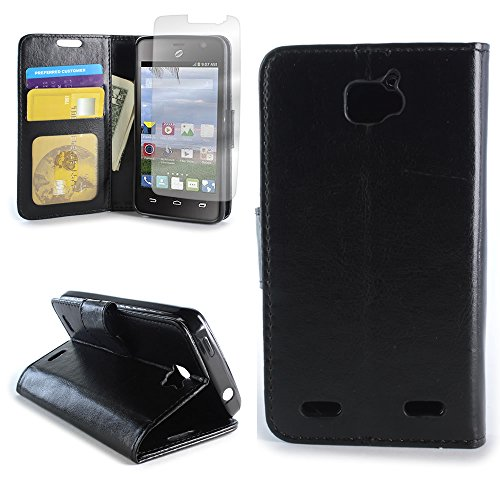 CoverON for ZTE Zephyr/Paragon Wallet Case [Carryall Executive Series] Synthetic Leather Flip Credit Card Phone Cover Pouch - Black - with Clear Screen Protector