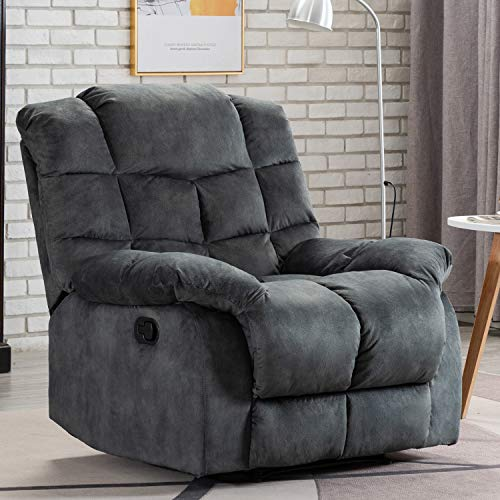 ANJ Recliner Chair Overstuffed, Manual Reclining Single Couch Wall Hugger Small Recliners for Living Room (Grey)