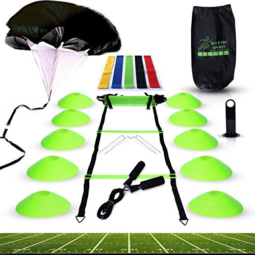 Big B Pro Sports Speed Agility Training Set - Includes Ladder, 10 Cones with Holder, Running Parachute, Jump Rope, Resistance Bands - for Training Football, Soccer, and Basketball Athletes (Green)