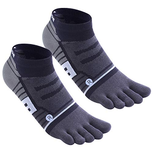 Toe Socks No Show Ankle Low Cut socks Breathable 5 Finger Compression Running Socks for Men and Women (Gray 2pairs)