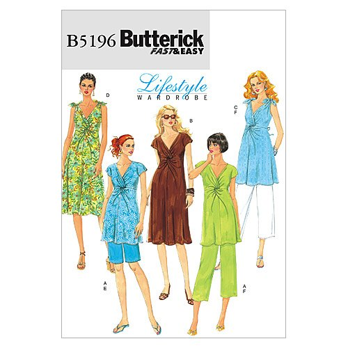 Butterick Patterns 5196 Misses Maternity Top, Dress, Shorts and Pants Sizes 16-18-20-22-24