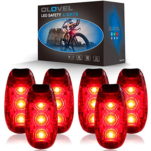 QLOVEL 6 Pack LED Safety Light, Clip On Strobe Running Lights for Runners, Walking, Bicycle, Dog Collar, Stroller, Boat, Best Night High Visibility Accessories for Your Reflective Gear