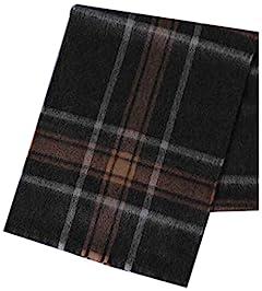 United Arrows Overplaid Lambswool Angora Scarf 1336-499-3745: Dark Grey