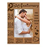 KATE POSH 2nd Anniversary Engraved Picture Frame, 2 years together as Husband and Wife, Boyfriend and Girlfriend, 2 Years of Marriage, Happy second cotton anniversary (5x7-Vertical)