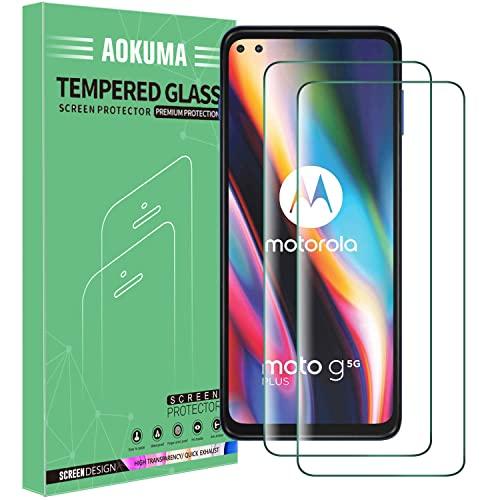AOKUMA für MotorolaMotoG5GPlus Panzerglas, 【2 Stücke】Glas kompatibel mit MotorolaMotoG5GPlus Schutzfolie, Premium Glasfolie mit 9H Festigkeit, Anti Kratzer, Splitterfest,Anti-Öl,Anti-Bläschen
