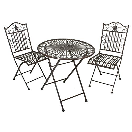 H4L Balkonset 1x Tisch 2X Stuhl Stahl rostoptik, Klappstuhl Tischset Klapptisch Antik, schwarz-braun pulverbeschichtet Gartentisch Gartenstühle