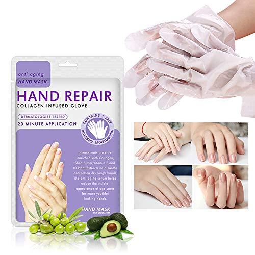 5 Packs Handfeuchtigkeitsspendende Handschuhe Feuchtigkeitsspendende Handmaske Kollagen für die trockene Alterung Rissige Hände Intensive Hauternährung Handcrememaske