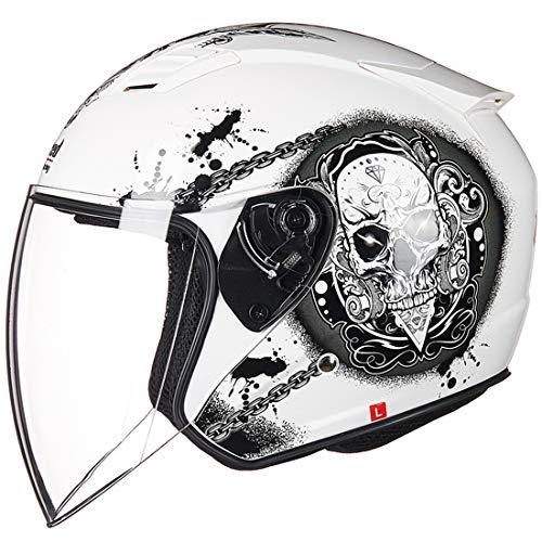VCOROS Casco de moto retro ECE Chopper con visera para hombre y mujer (blanco calavera, talla M)