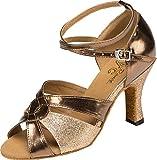 Salabobo YYM-L190 Zapatos de Baile de Poliuretano con tacón Medio y Puntera Abierta para Fiesta de salón de Baile Latino para Mujer, Color Dorado, Talla 38 EU