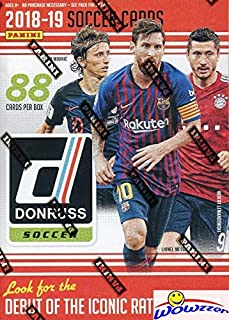 2019 Panini Donruss Soccer HUGE Factory Sealed Retail Box with 88 Cards including EXCLUSIVE OPTIC PURPLE VELOCITY & 2 GREEN PARALLELS! Look for Autos of Lionel Messi, Ronaldo, Neymar & More! WOWZZER!