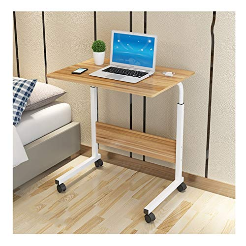 Lazy Bedside Table Days Overbed Table Height-Adjustable,Mobile Laptop Stand Desk,Portable And Sturdy Laptop Desk With Wheels, Living Room, Classroom ( Color : Ancient oak color , Size : 80x50x90cm )