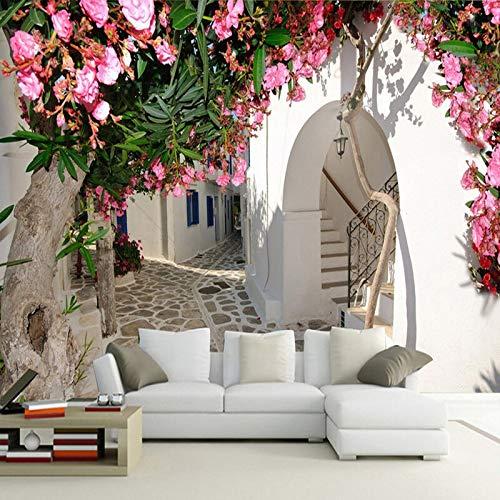 XZCWWH Fototapete Mediterrane Straße Stadt Stadt Landschaft 3D Wandbild Wandtuch Wohnzimmer Tv Thema Hotel Hintergrund Wandbeläge,300cm(W)×210cm(H)