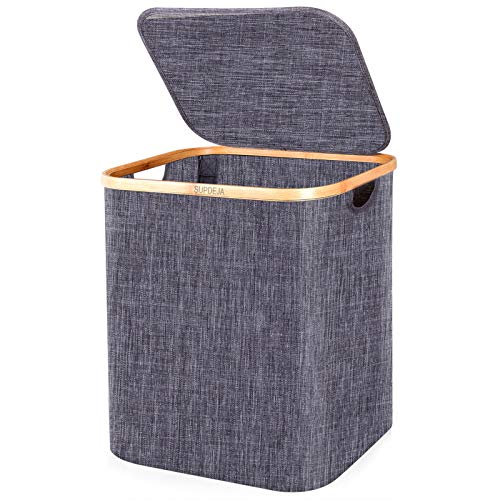 SUPDEJA 60L Laundry Hamper with Lid Bamboo Laundry Basket with Lid Dirty Clothes Hamper with Handles Oxford Laundry Hamper for Clothes Storage and Bedroom Grey