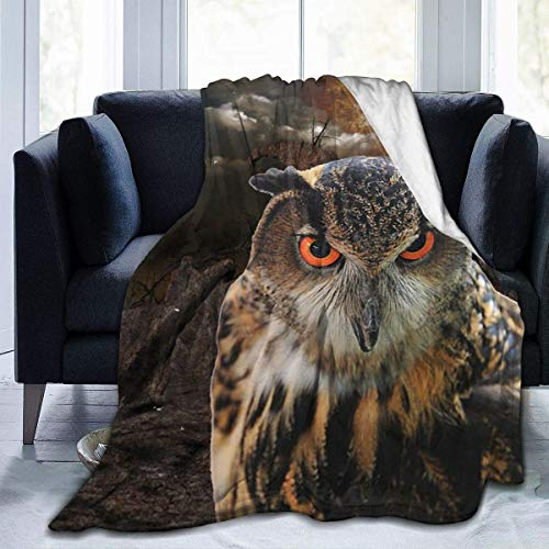 Yuanmeiju Fleece Throw Coperta Great Horned Owl World Planet Copertas Home Cute Soft for Sofa Chair Bed Office Travelling Camping Kids Adults Baby Toddler Dog Cat