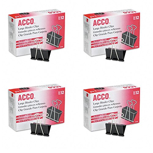 ACCO Binder Clips, Large, 4 Boxes, 12 Clips/Box (A7072100B-AZ)
