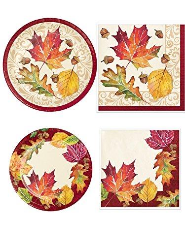 Fallen Leaves Thanksgiving 16 Dinner Plate, 16 Dessert Plates, 16 Lunch Napkins, 16 Dessert Napkins and Recipe by Grandma Olive