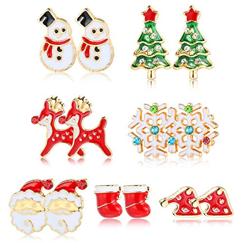 Sllaiss Christmas Stud Earring Set 7 Pairs Cute Santa Claus Reindeer Snowflake Small ChristmasTree Earrings Christmas Gifts for Women