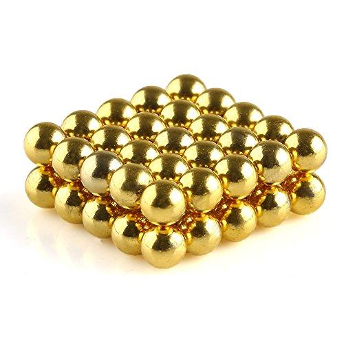 OMO Magnetics 【世界最強マグネット】 強力マグネット 強力磁石 N42 ネオジム磁石 ネオジウム磁石 球形 ボール 丸型 直径5mm ニッケルメッキ 専用ケース付き 金色(50個)