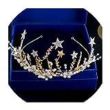Corée mariée mariage Coiffe main Couronne nouveau cristal Hoop cheveux Etoiles Mariage Accessoires de cheveux