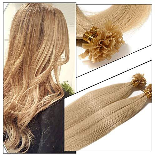 Elailite Extension Capelli Veri Cheratina 200 Fasce Negozio Top Capelli Naturali Indiani 100% Remy Human Hair Extensions Bionde 100g (50cm #24 Biondo Chiaro)