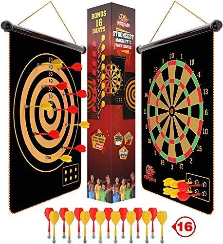 Fungenix, Magnetic Dart Board For Kids, Indoor Outdoor Darts Game, 12pcs Magnetic Darts, Double Sided Board Games Set, Best Toys Gifts For Teenage Age 5 6 7 8 9 10 11 12 13 14 15 16 Years Old Boys
