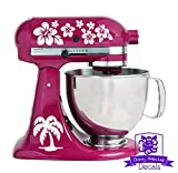 White : Tropical Hawaiian Palm Tree and Flower Pattern Kitchen Stand Mixer Front & Back Decal Set - White