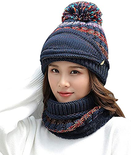 Women's Winter Hats Knit Fleece Lined Ear Flaps Beanie Hat with Pompom Scarf Mask Set Warm Soft Slouchy Skull Cap Blue