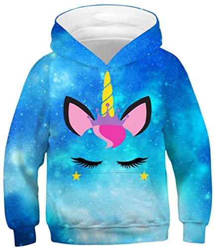 Ocean Plus Bambini e Ragazzi Felpe con Cappuccio Bambino Multi Teens Colorate Felpa Maniche Lunghe Pullover (M (Altezza: 135-140cm), Ciglia Lunghe Unicorno Blu)