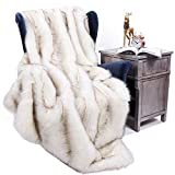 BATTILO HOME Luxury Fox Faux Fur Warm Elegant Cozy Throw Decorative Blanket Bed Sofa Blanket, 51'x67'